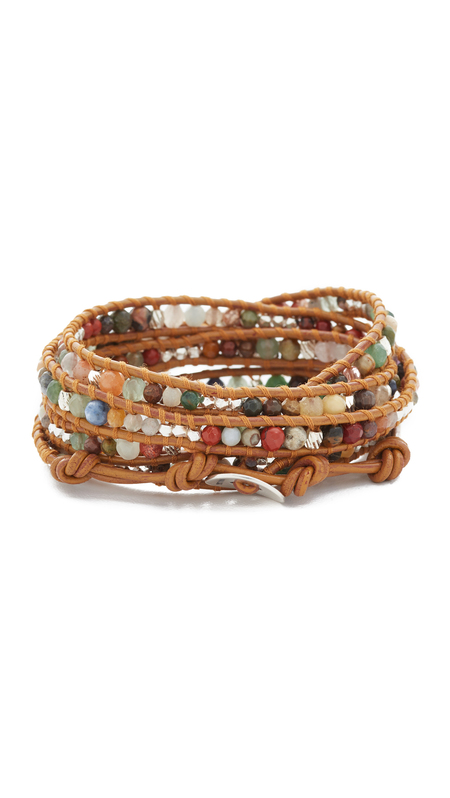 Chan Luu multi stone wrap bracelet - light tan