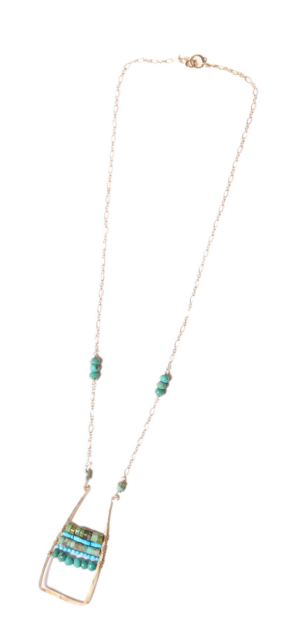 James and Jezebelle Turquoise Paddle Necklace