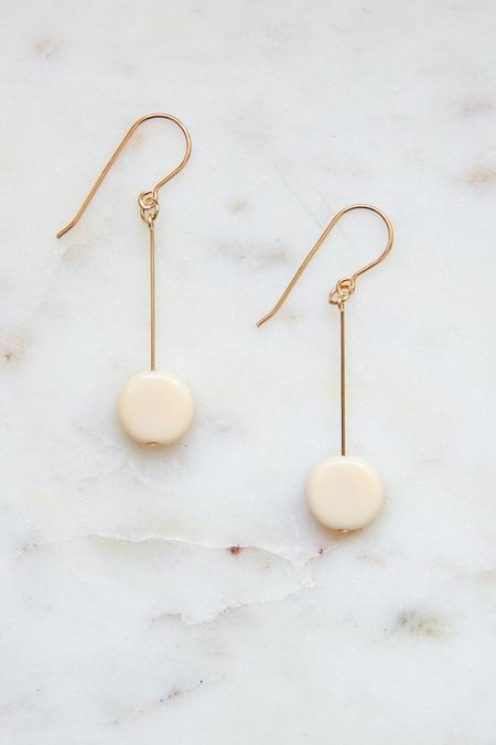 I. Ronni Kappos Glass Bead Circle Drop Earrings - 14K Gold/Cream