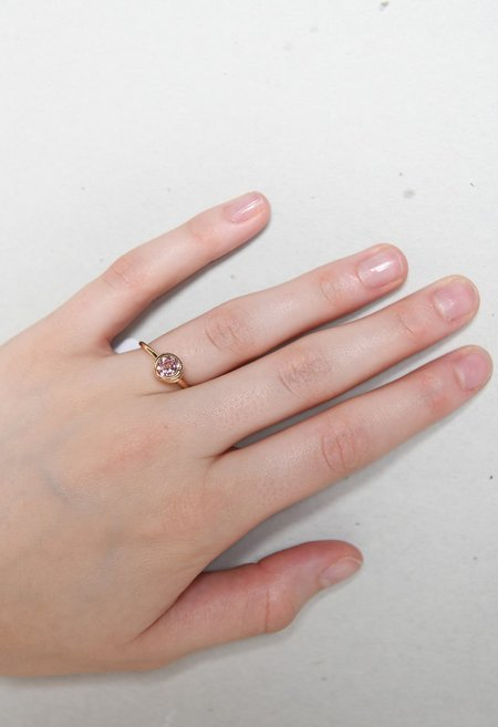 S/H KOH Pink Topaz Scroll Ring - 14k Yellow Gold
