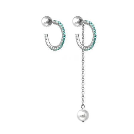 Joomi Lim Mini Crystal Hoop Earrings W/ Pearl Backs & Removable Chain - Rhodium/Light Turquoise/White