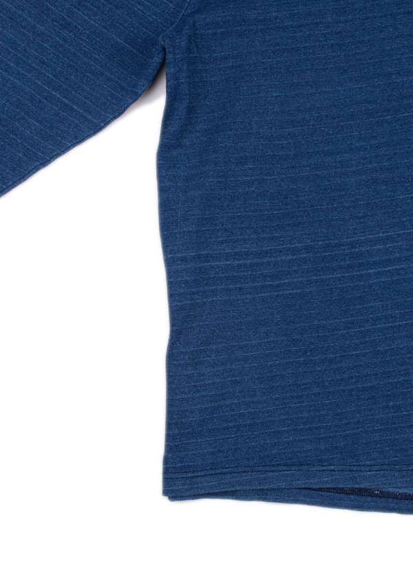 Men's Blue Blue Japan Knitted Indigo Heavy Cotton Jersey Basque LS Tee