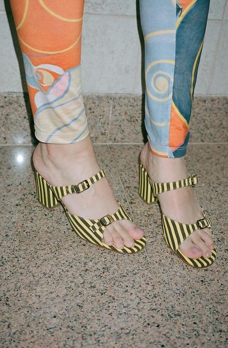 Maryam Nassir Zadeh Una Sandal - Yellow/Espresso Brown