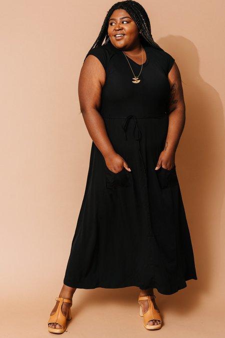 Field Day Belted Bias Dress - Black