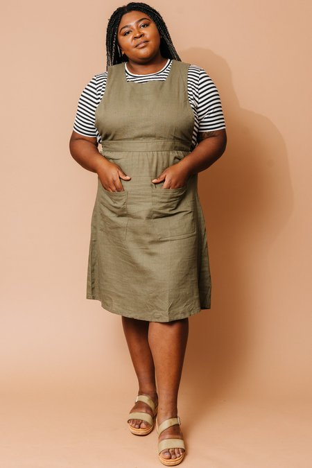 Field Day Linen Pinafore Dress - Olive