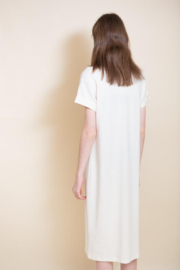 Ali Golden Roll Sleeve T-Shirt Dress / Cream
