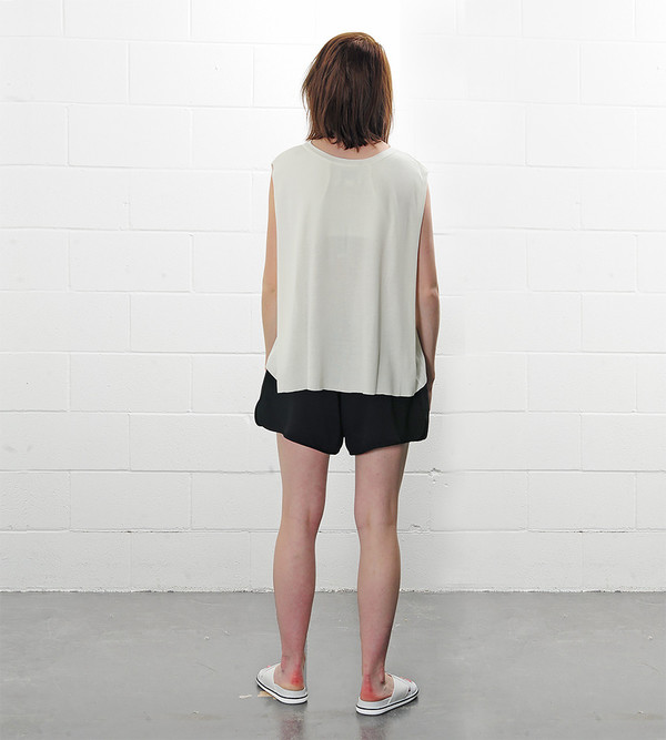 a c h r o Ivory Linen Mixed Knit Top with Folded Sides