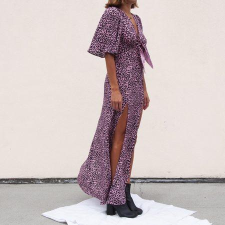 Les Reveries Tie Front Flutter Sleeve Dress w/ Slits