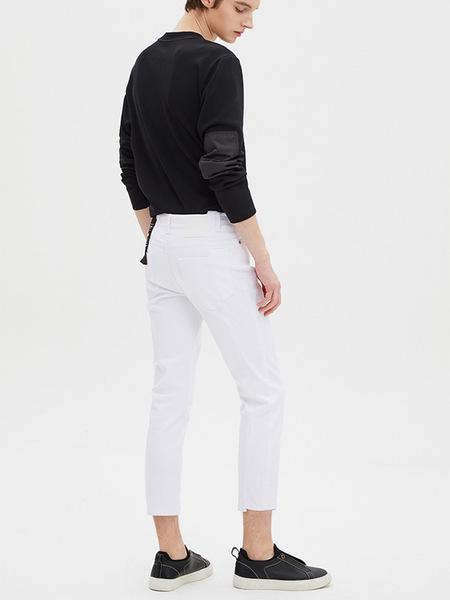 SYSTEM HOMME Patchwork Skinny Denim Pants - Off White