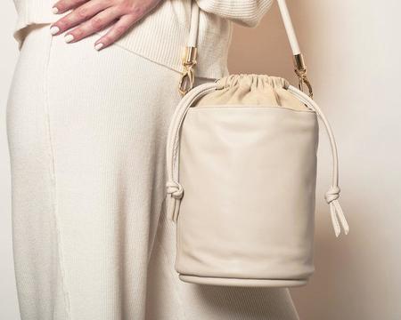 Hozen Collection Vegan Drawstring Bucket Bag - ECRU