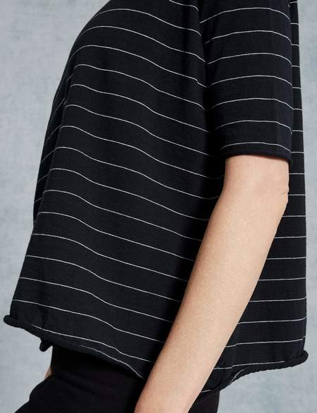 Frank & Eileen LAB CORE HALF SLEEVE TEE - BLACK/WHITE STRIPE