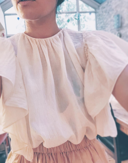 Petit Mioche blouse with ruffle sleeves