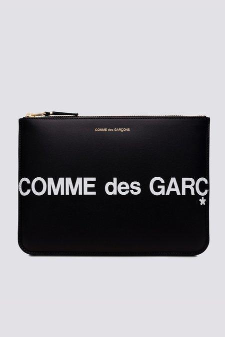 Comme des Garçons Leather Huge Logo Zip Wallet - Black