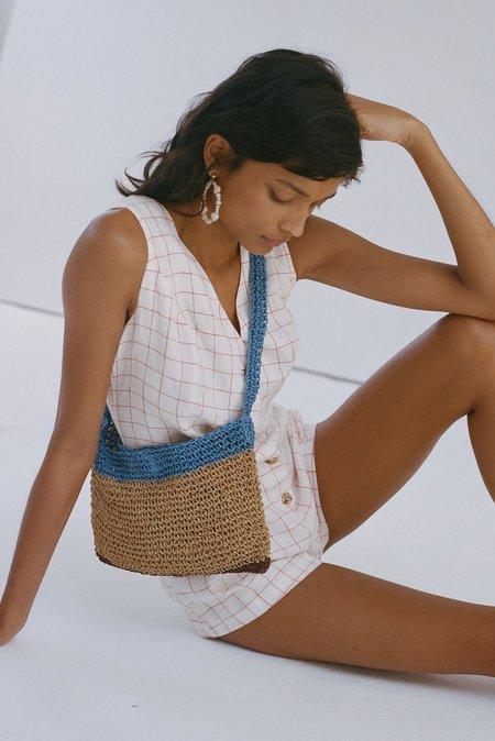 PALOMA WOOL Hawa Check Jumpsuit Playsuit - White/Coral Check