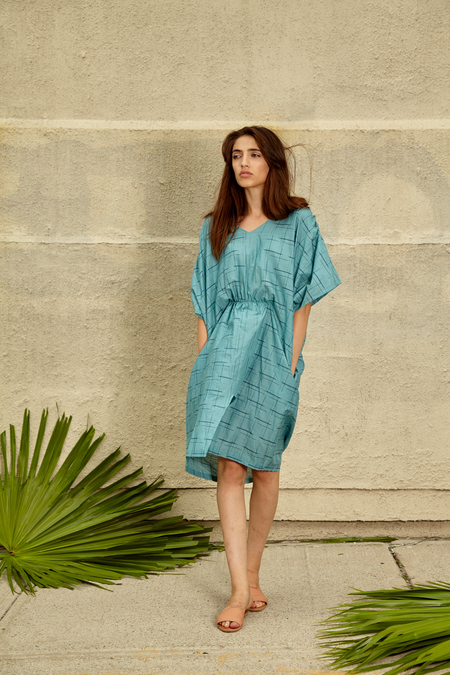 Tantuvi Cocoon Caftan Dress- Sea Grid
