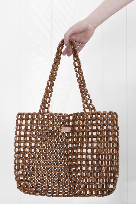 Abacá cruz wood tote - chestnut brown