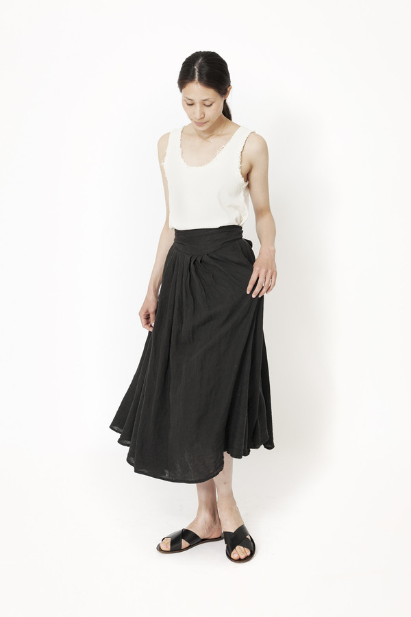 Black Crane Wrap Skirt