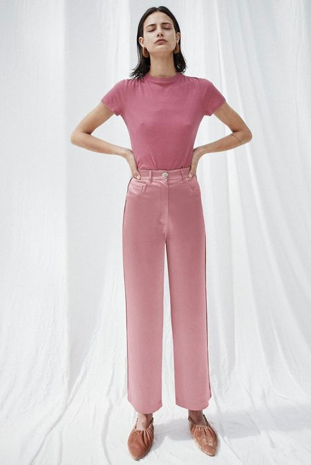 Nanushka Marfa Wide Leg Satin Pant - Pink