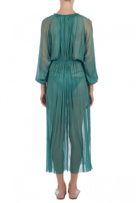 Elena Makri Nemesis crinkled silk-tulle cover up - Green