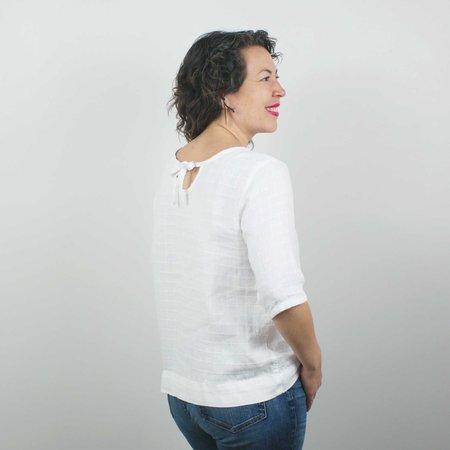 modaspia Pin Tuck Blouse - White Windowpane