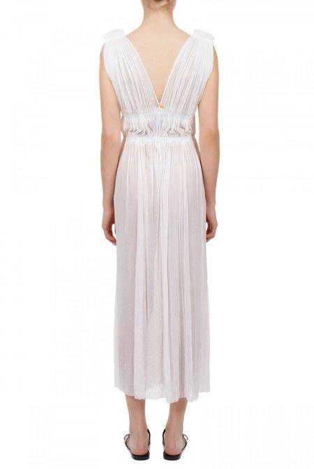Elena Makri Vereniki pleated silk-tulle midi dress - White