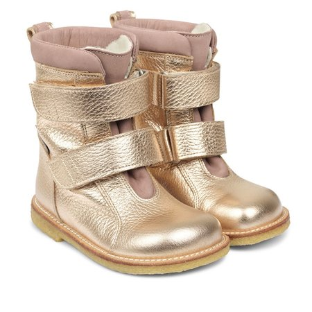 KIDS angulus platino tex boot with velcro straps - copper/rose