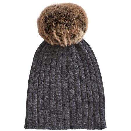 kids belle enfant pompom hat with rabbit fur trim - graphite