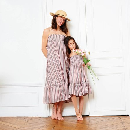 bonton women's long dress - lurex stripes