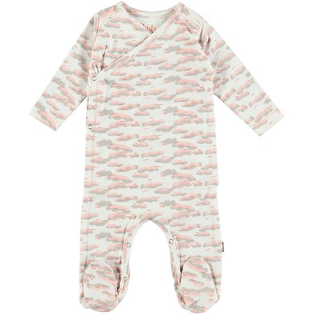 Kids Kidscase Philly Organic NB Footed Suit - Pink print