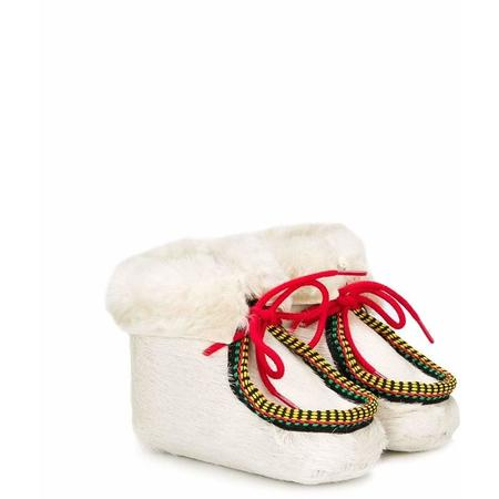 kids pepe lace-up shearling booties - white