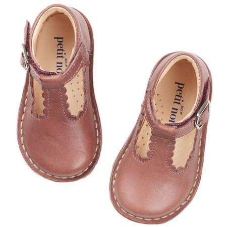 Kids petit nord t-bar scallop sandals - berry