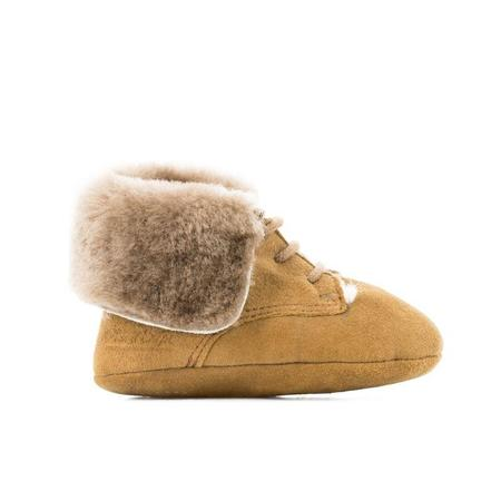 kids pom d'api first fur chèvre velours boot - light brown