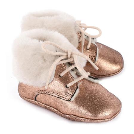 kids pom d'api first fur douro cuivre boot - rose gold