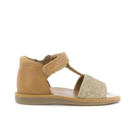 kids pom d'api poppy tao easy glitter sandals - camel
