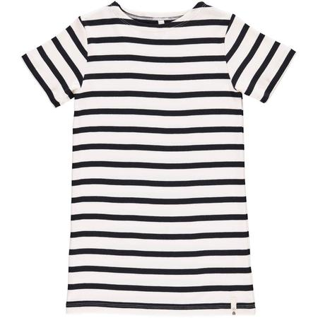 kids popupshop maritime short sleeve dress - white/navy stripe