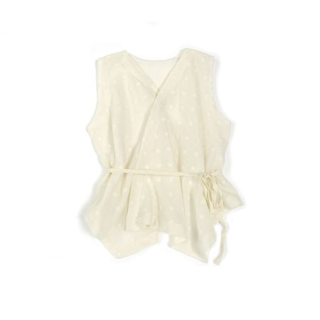 Kids Treehouse Sori Dawn Dots Sleeveless Blouse - White