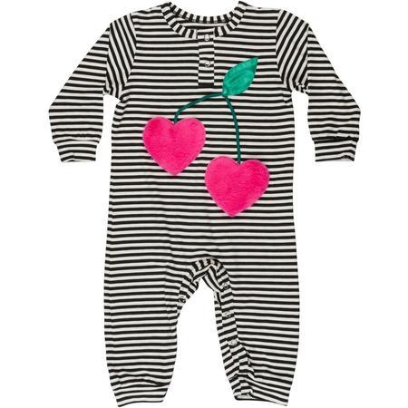 Kids Wauw Capow By Bangbang Copenhagen Sweet Berry Onesie - Black/White Stripes