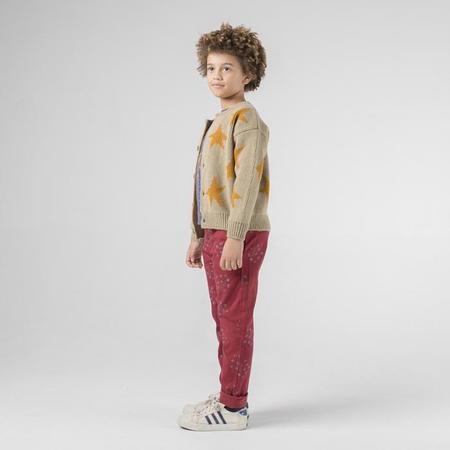 Kids Bobo Choses Child Cardigan Sweater With Jacquard Yellow Stars - Brown