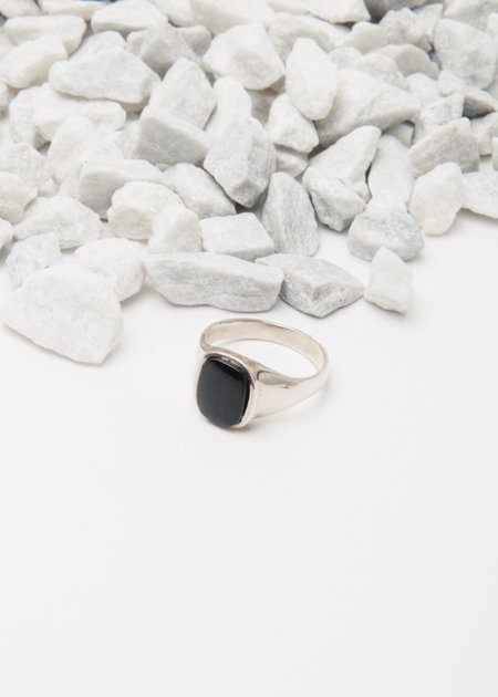 Jerry Grant Onyx Signet Ring - Silver