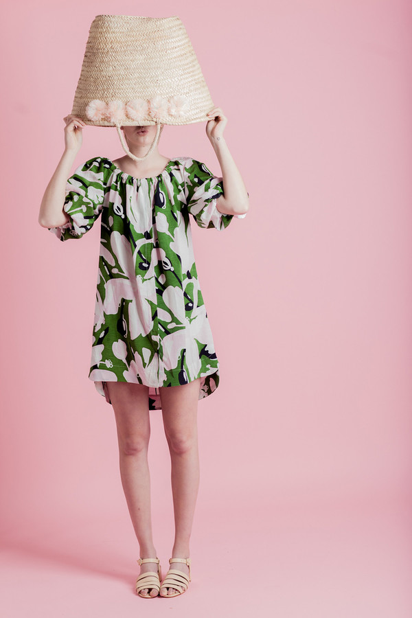 WHIT AFRICAN LILY BALLOON DRESS
