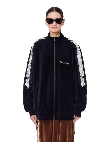 unisex Doublet Embroidered Velour Track Jacket - Black