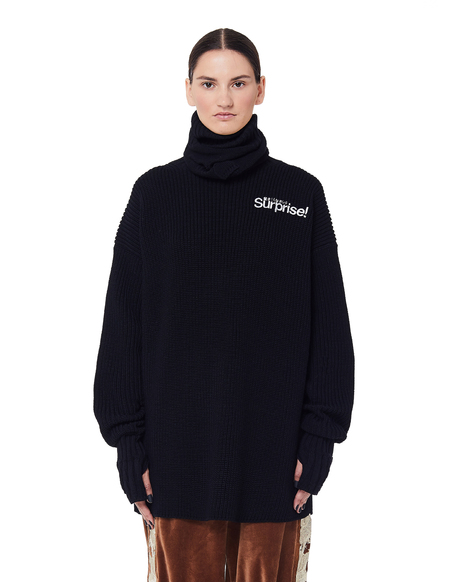 Doublet Surprise Wool Balaclava Sweater - black