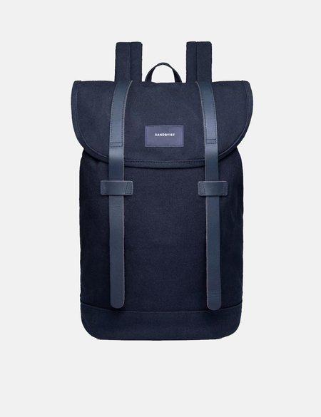 Sandqvist Stig Canvas Backpack - Navy Blue/Navy Blue