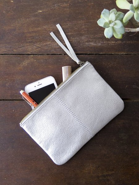 Erica Tanov Metallic Leather Makeup Bag - Silver
