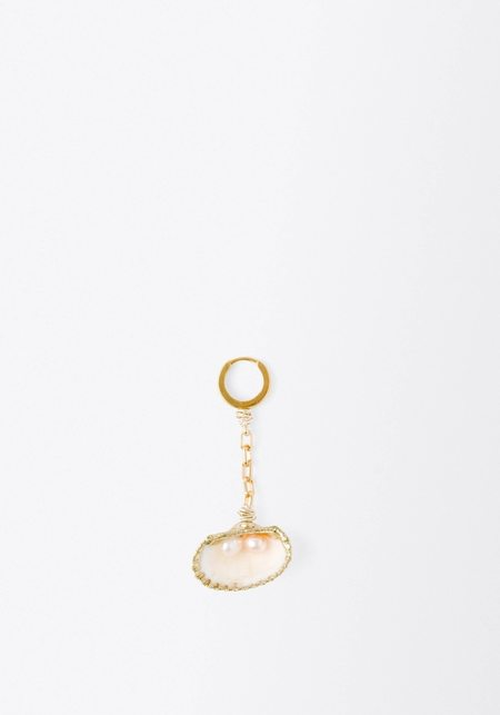 WALD BERLIN Drop it Like it's Hot Earring (Single) - Shell/Gold Plated Brass