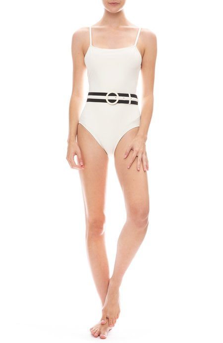 Solid and Striped The Nina Belt One-Piece Swimsuit - Cream