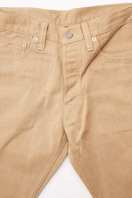 Pure Blue Japan 1155 Woven Yarn Dyed Pique Relaxed Pants - Beige/Camel