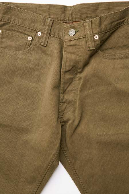 Pure Blue Japan 1155 Woven Yarn Dyed Pique Relaxed Pants - Olive/Camel