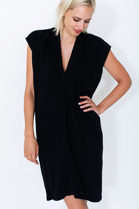 Miranda Bennett Black Everyday Dress, Double Gauze
