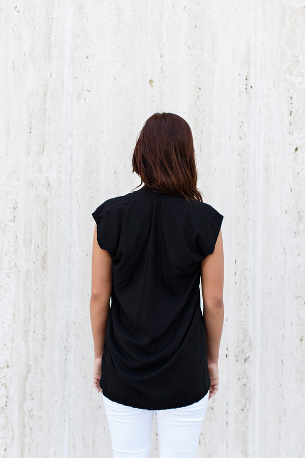 Miranda Bennett Everyday Top, Silk Noil in Black